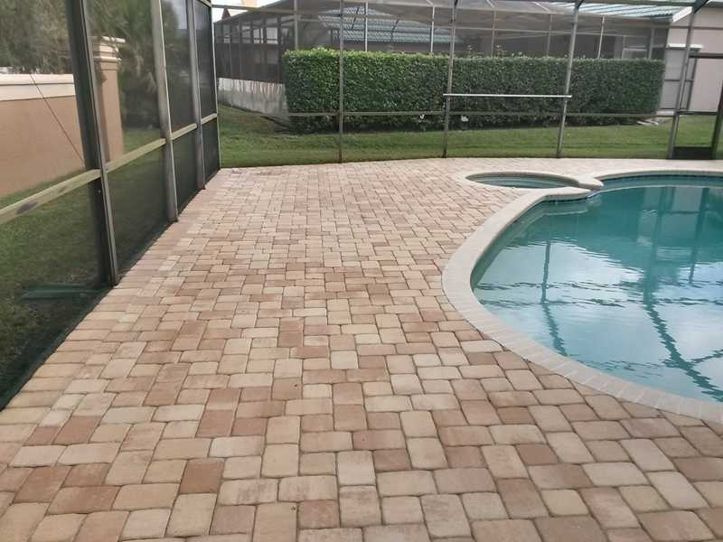 Beautifully Cleaned Paver Pool Deck